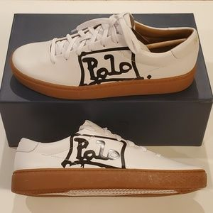 Polo Ralph Lauren White Leather Sneakers, Size 10B